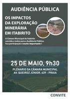 """Câmara promove Audiência Pública sobre """"impactos da exploração minerária em Itabirito"""""""